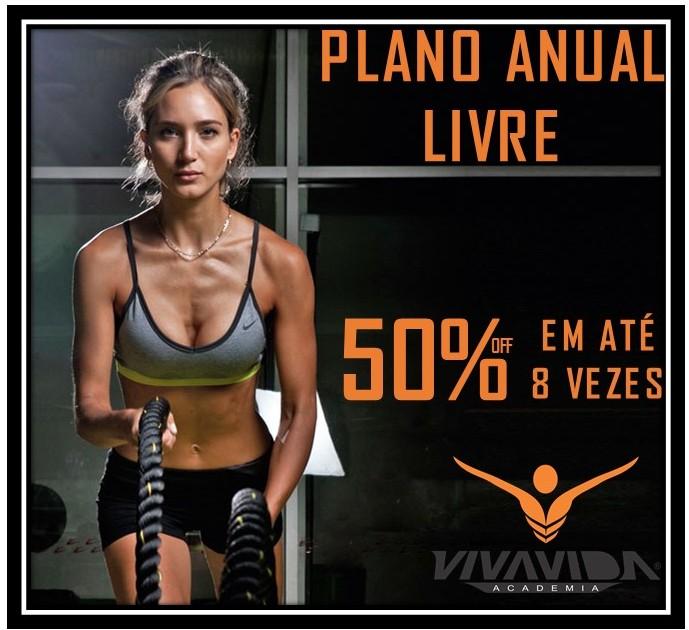 50% DE DESCONTO NO PLANO ANUAL LIVRE- EM ATÉ 8 VEZES!